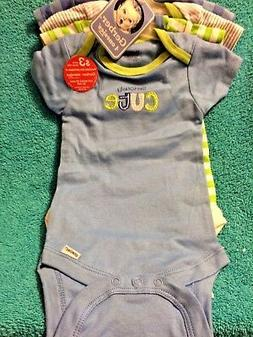 GERBER 4 PACK ONESIES CREEPERS - SIZE 3-6 MONTHS - NEW