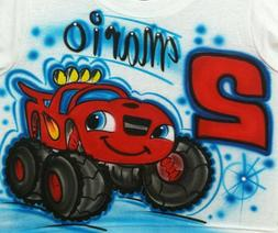 Airbrushed Blaze Monster Truck Inspired Personalized Custom