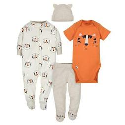 Gerber Baby Boy and Girl 4-Piece Take Me Home Set, Tiger One
