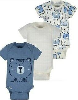 GERBER BABY BOY'S Organic Cotton Onesies Bodysuits Variety 3