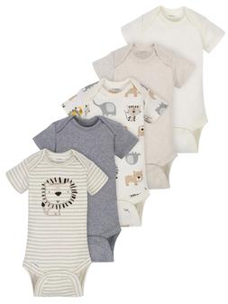 Gerber Baby Boys 5 Pack Organic Cotton Onesies Size 0-3 Mont
