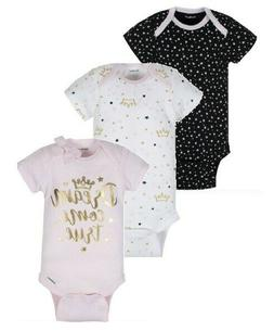 "Gerber Baby Girl 3-Piece ORGANIC ""Dream Come True"" Onesies S"