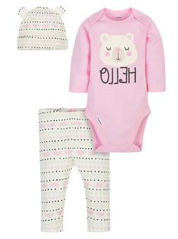 Gerber Baby Girl Onesies Bodysuit, Pants and Cap 3pc Set Whi