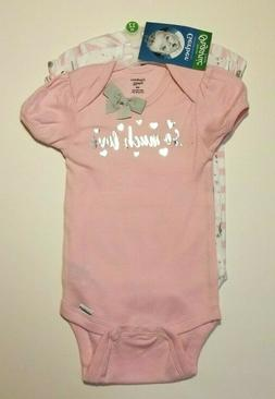 GERBER BABY GIRL Organic Cotton Onesies Bodysuits 3-Pack PIN