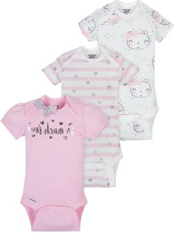GERBER BABY GIRL Organic Cotton Onesies Bodysuits 3-Pack - P