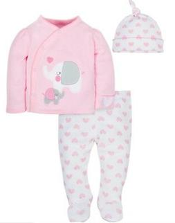 GERBER BABY GIRL Organic Cotton Take-Me-Home 3-Piece Layette
