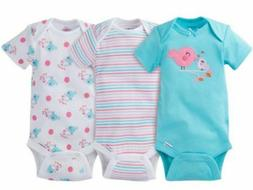 baby girls 3 pack aqua birds onesies