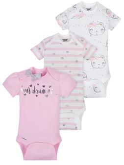 Gerber Baby Girls 3 Pack Organic Cotton Onesies Various Size