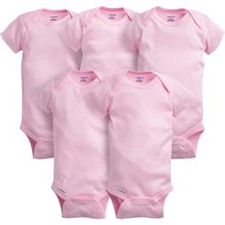 Gerber Baby Girls 5 Pack Short Sleeve Onesies Size 6-9 Month