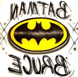 """""""BATMAN"""" CUSTOM T-SHIRT AIRBRUSHED WITH YOUR NAME!! ALL SIZE"""