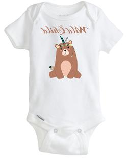 Boho Style Bear Wild Child Baby Onesie cute for baby boy and