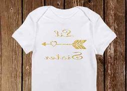 "Boho Style ""Little Sister"" Gold Sparkle Onesie with Heart bo"