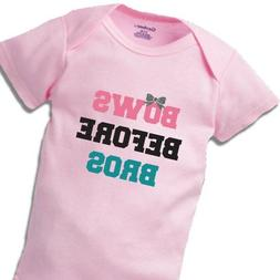 Bows Before Bros Onesies Baby Gift Funny Cute Aunt Reveal Gi