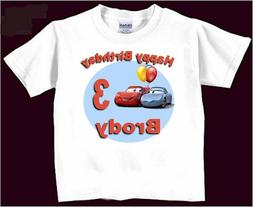 Cars Birthday T-Shirt Personalized Boys Girls Kids Ages 1 2