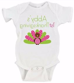 Custom Name Baby's First Thanksgiving Babies Baby Girl Gerbe