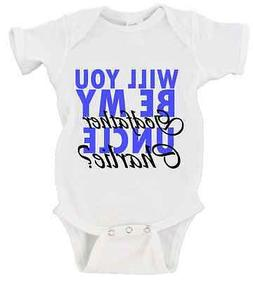 CUSTOM Will You Be My Godfather Uncle NAME Onesie Baby Godpa