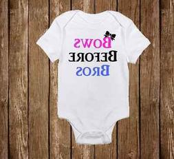 Cute Bows Before Bros Onesie for Baby Girl - Infant Funny Ro