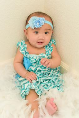 Cute Onesies Blue, Green and White One Piece Satin Baby Girl