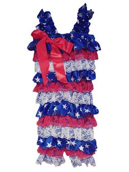 Cute Onesies Blue Red White One Piece Satin and Lace Baby Gi