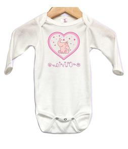 Elephant Hearts Baby Onesie Bodysuit Long Sleeve Personalize
