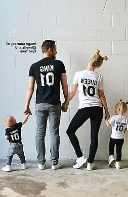 Family Matching T-shirts King Queen Parents and Daughter Son