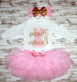 Happy Easter Outfit Ruffled Skirt Onesie Headband Gold Pink