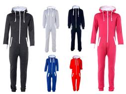 1ONESIE KIDS BOYS GIRLS PLAIN HOODED ALL IN ONE JUMPSUIT PLA