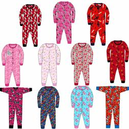 Kids Girls Boys Jersey All in One Character Childrens Pyjama