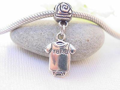 3D Silver Baby Onesie fits Charm Bangle