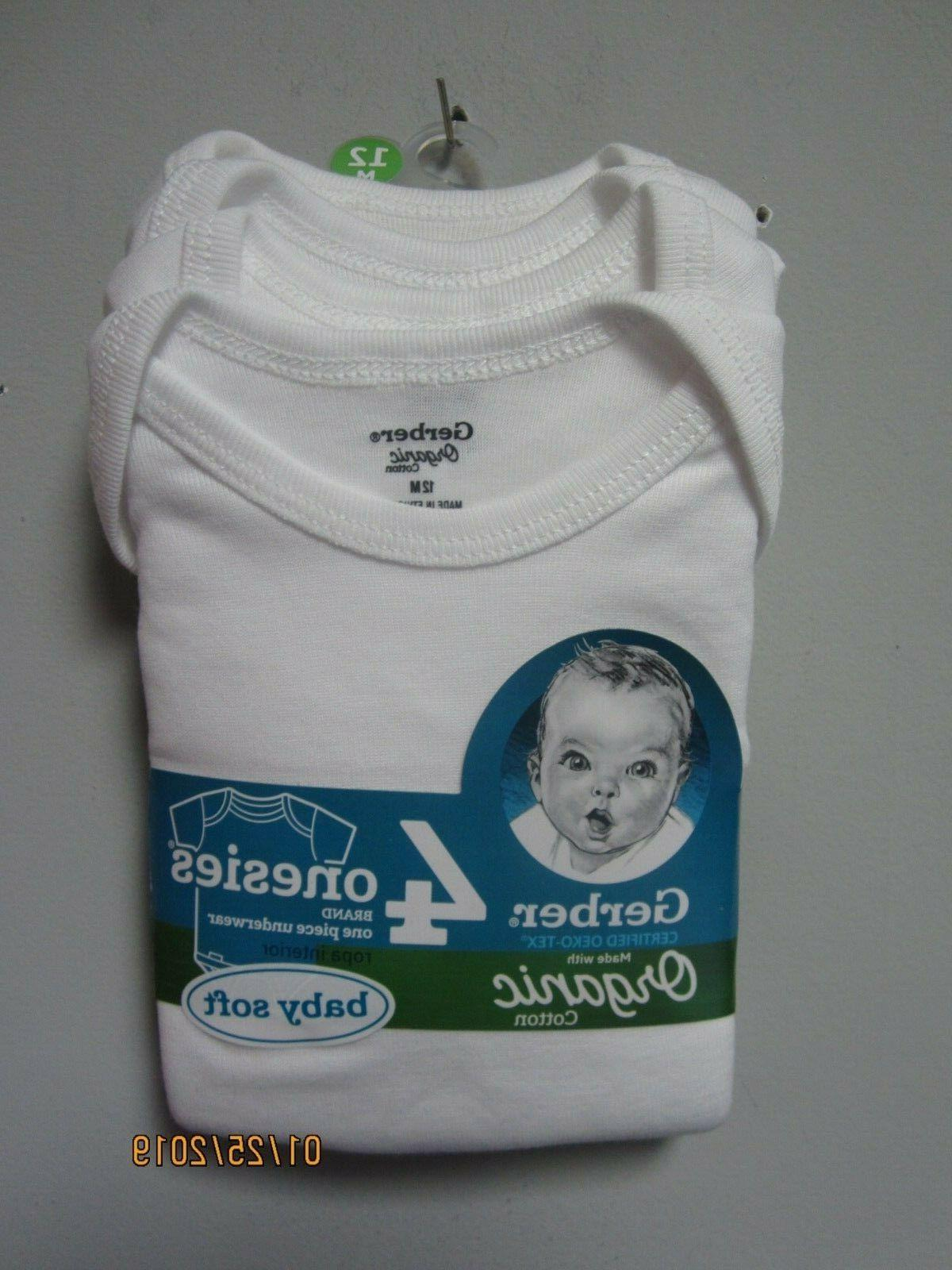 Gerber Baby Unisex Organic Cotton Short White Onesies Size 12M