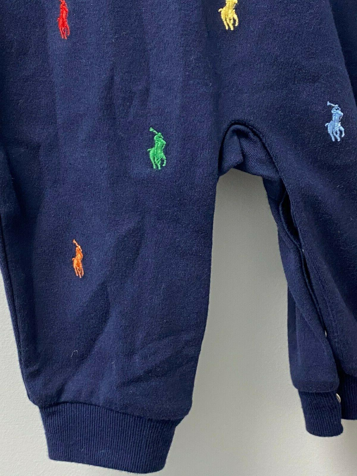 NEW Ralph Lauren Baby Boys NB-12 All Pony Piece Coverall Navy