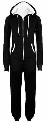 New Unisex Mens Womens All In One Hooded Onesie Jumpsuits M-