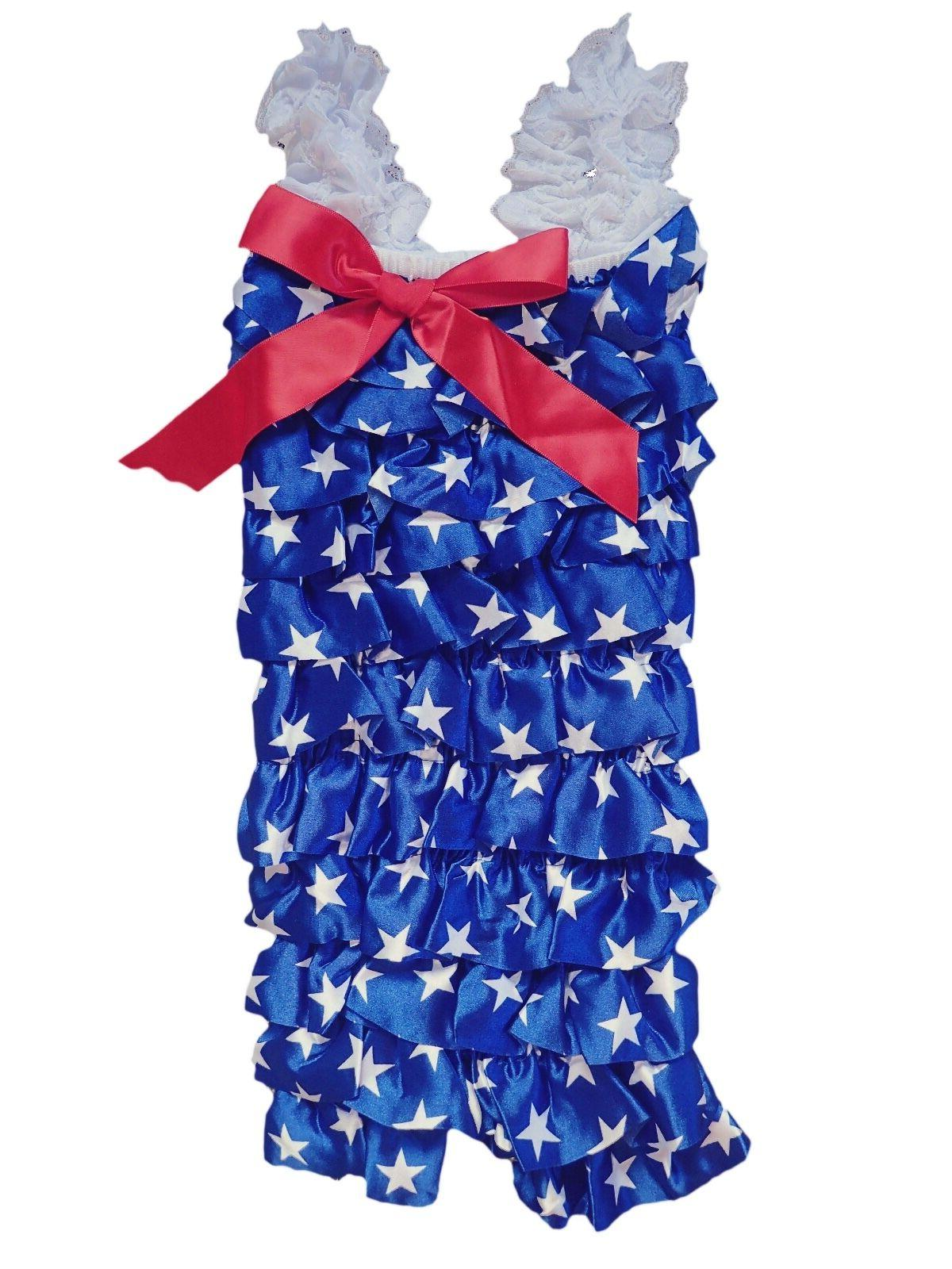Onesie and American Flag Satin Romper with Bow