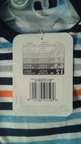 Gerber Infant Multi-colored Striped Onesie 3-6 Months