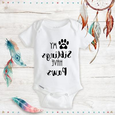 unisex baby onesies my sibling have paws