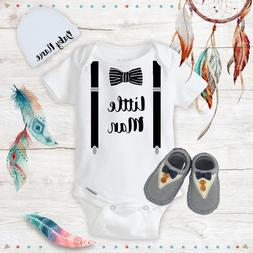 Little Man Baby Boy Clothes Onesies Name Hat Soft Shoes Baby