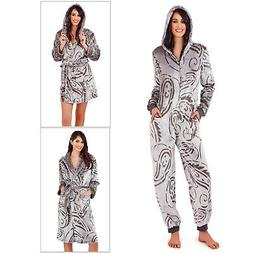 Loungeable Womens Paisley Dressing Gown Ladies Hooded All In