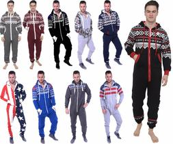 Mens All In One Piece Jumpsuit Fleece Aztec Camo USA Flag Ho