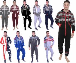 Mens All in One Piece jumpsuit Pajamas Casual Aztec Print Ho