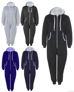 Mens Ladies Plus Size Big Plain 1Onesie All In One Hooded Ju