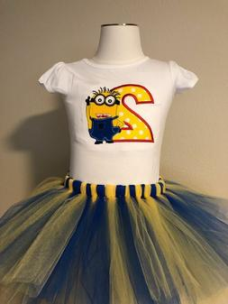 Minion Birthday Shirt Tutu Outfit Set Party EMBROIDERED 1st