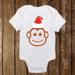 Monkey With Sparkle Santa Hat Onesies Baby First Christmas O
