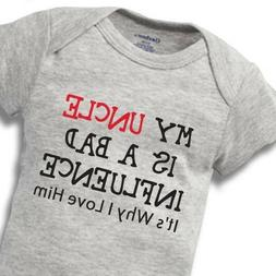 My Uncle Bad Influence Onesies Baby Gift Funny Cute Brother
