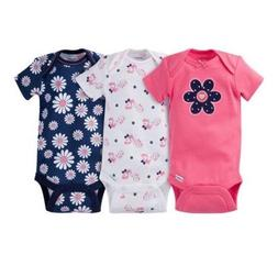 Gerber Baby Girl 3-Piece Navy/Coral Flowers Onesies Size 12M
