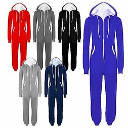 New Mens Womens Unisex Hooded All In One Onesie Jumpsuits M-