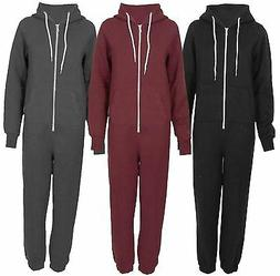 New Womens Long Sleeve All In One Zip Front Pockets Onesie J
