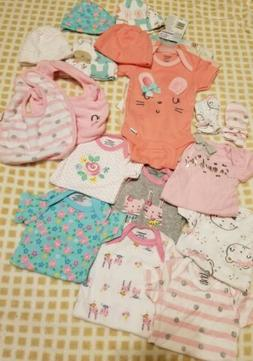 Newborn Baby Girl Clothes and Accessories Mixed Lot New or E