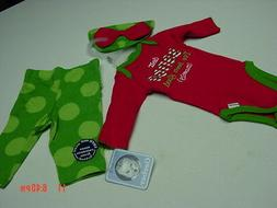 NWT 3 piece Infant Girls Gerber Onesie Pants Hat Holiday Chr
