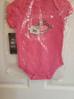 NWT NFL Baby Girls One Piece Pink Football Romper Body Suit