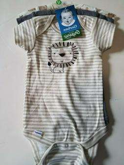 NWT Gerber Organic Baby Boy Onesies 3p Set LION ELEPHANT JUN